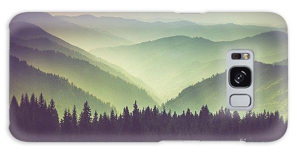 Scenery Galaxy Case - Misty Summer Mountain Hills Landscape by Volodymyr Martyniuk