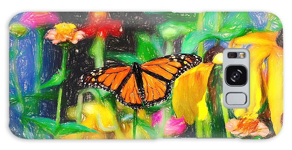 Monarch Butterfly Colored Pencil Galaxy Case