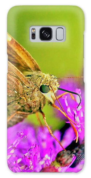 Moth On Purple Flower Galaxy Case
