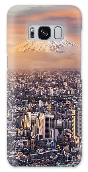 Dusk Galaxy Case - Mount Fuji And Japan Cityscape In by Sahachatz