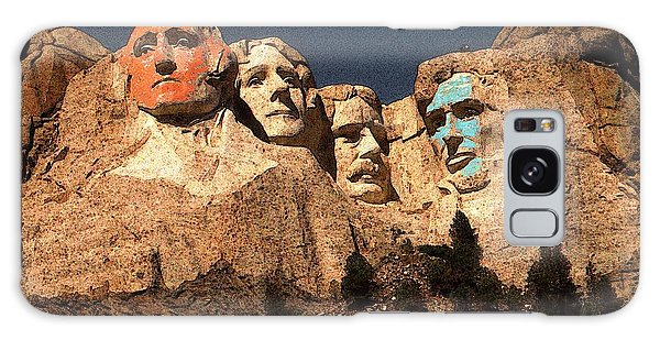 Mount Rushmore Red And Blue Drawing Galaxy Case