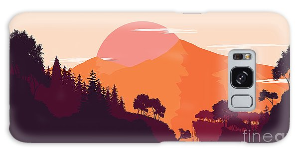 Majestic Galaxy Case - Mountain And Forest Landscape In Day by Miomart