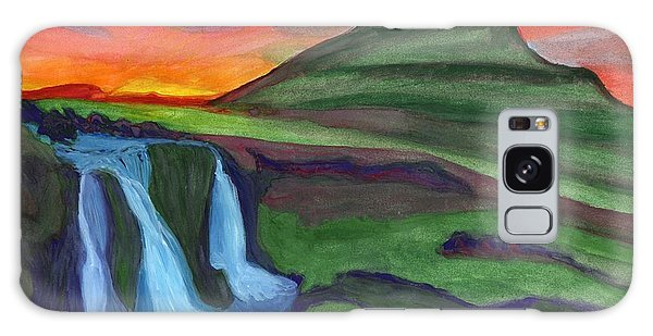 Mountain And Waterfall In The Rays Of The Setting Sun Galaxy Case