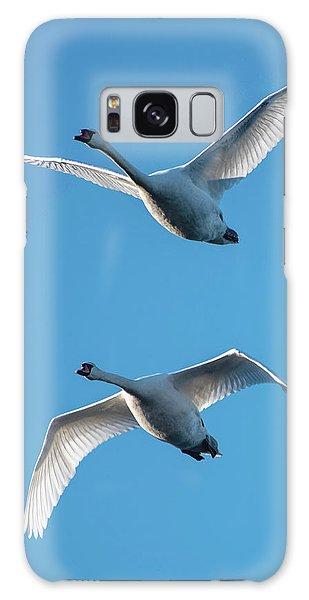 Mute Swans In Flight Galaxy Case