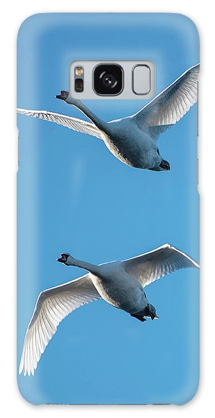 Galaxy Case featuring the photograph Mute Swans In Flight by Ken Stampfer