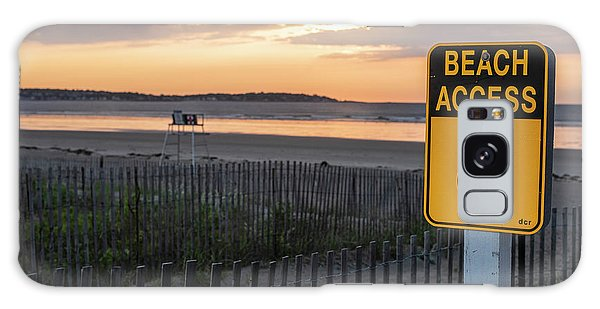Nahant Sunrise Beach Access 8 Nahant Ma Nahant Beach Yellow Sign Galaxy Case