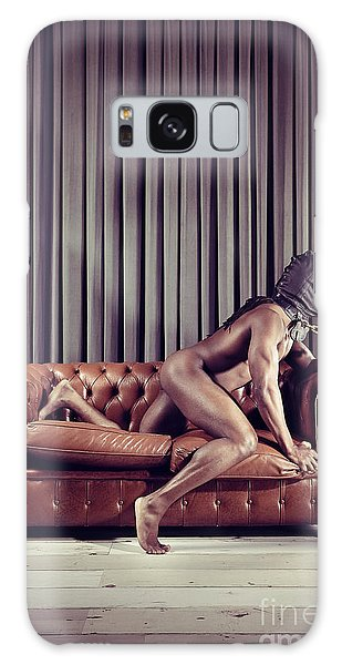 Naked Man With Mask On A Sofa Galaxy Case