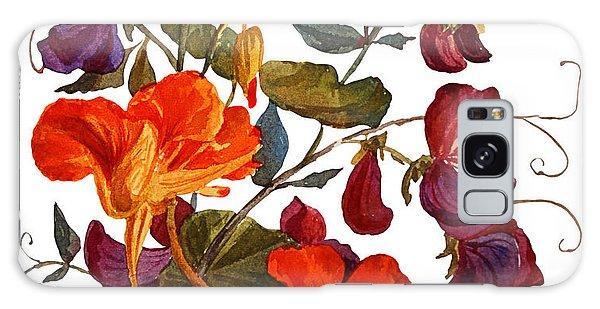 Botanical Garden Galaxy Case - Nasturtium And Sweet Peas  Flowers by Yulia Krasnov