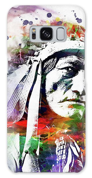 Indian Head Galaxy Case - Native American Indian Watercolor 5 by Mihaela Pater