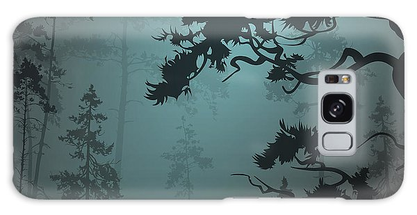 Pine Branch Galaxy Case - Natural Background With Pine Forest And by Eva mask