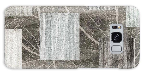 Neutral Leaf Print Squares Cream Galaxy Case