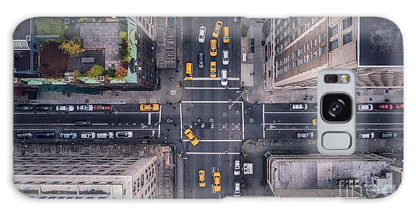 New York City Taxi Galaxy Case - New York City 5th Ave Vertical by Stephan Guarch