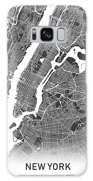 Usa Map Galaxy Case - New York Map Black And White by Delphimages Photo Creations