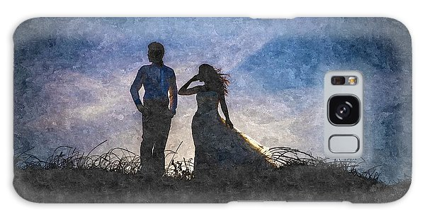 Newlywed Couple After Their Wedding At Sunset, Digital Art Oil P Galaxy Case