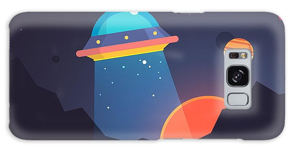 Beam Galaxy Case - Night Alien World Landscape And Ufo by Iconic Bestiary