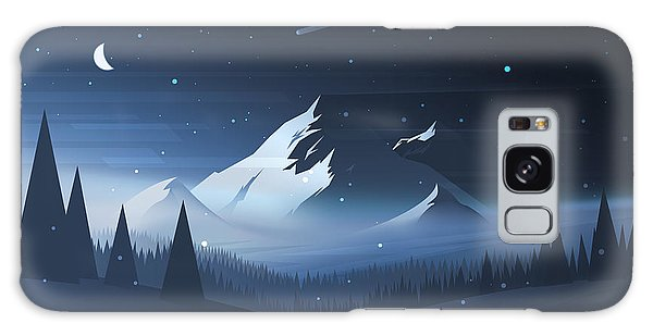 Majestic Galaxy Case - Night Mountain Winter Landscape. Vector by Dmod