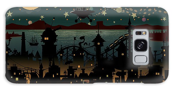 Outer Space Galaxy Case - Night Scene Illustration With Ufo by Mangulica
