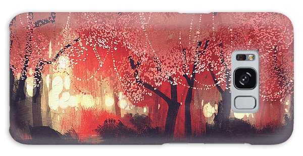 Glow Galaxy Case - Night Scene Of Autumn Forest,fantasy by Tithi Luadthong