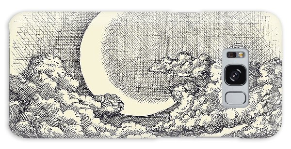 Cloudscape Galaxy Case - Night Sky Vector, Moon In The Clouds by Danussa