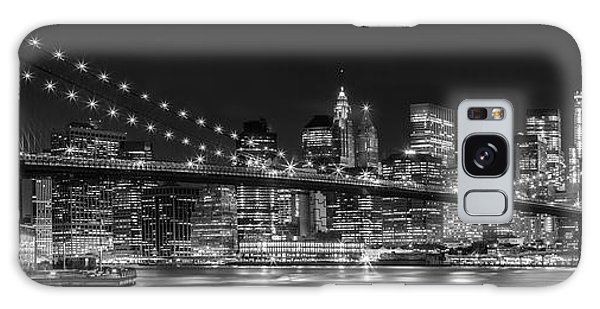 Horizontal Galaxy Case - Night-skyline New York City Bw by Melanie Viola