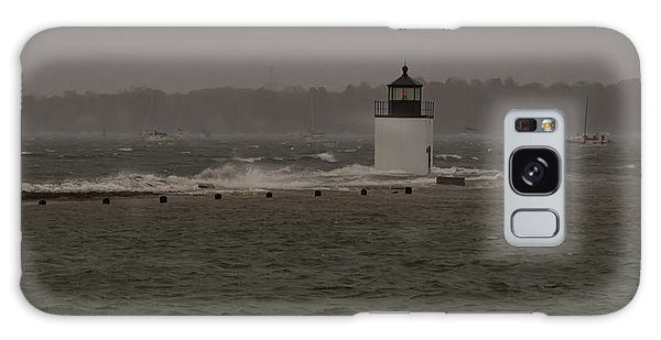October Storm At Derby Wharf Lighthouse Galaxy Case
