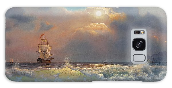 Seagulls Galaxy Case - Oil Painting On Canvas , Sailboat by Liliya Kulianionak