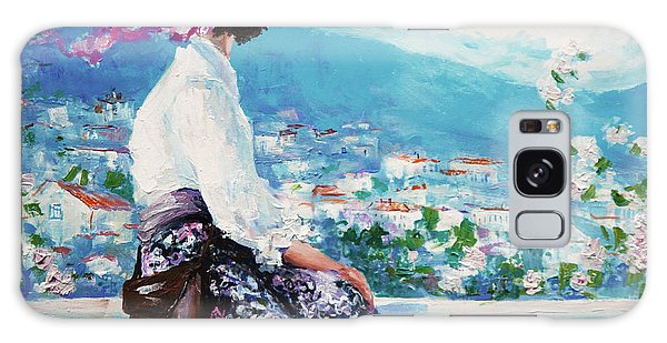 Dress Galaxy Case - Oil Painting, Woman Sitting And Looking by Maria Bo