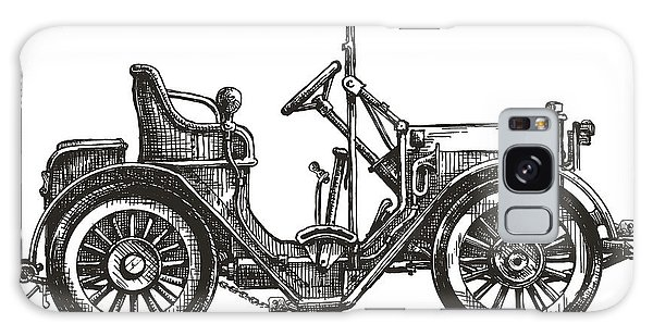 Old Road Galaxy Case - Old Car On A White Background. Sketch by Ava Bitter