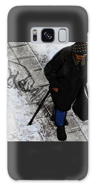 Galaxy Case featuring the digital art Old Lady With A Dog by Attila Meszlenyi
