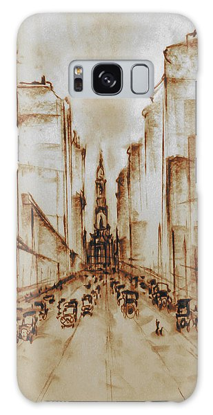 Old Philadelphia City Hall 1920 - Pencil Drawing Galaxy Case