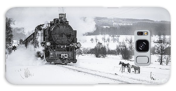 White Horse Galaxy Case - Old Steam Train Puffing Across Winter by Tomas Kulaja