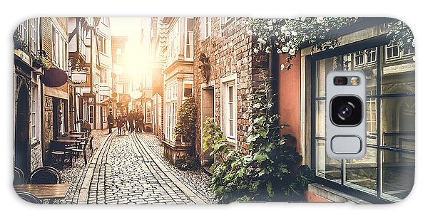 Street Cafe Galaxy Case - Old Town In Europe At Sunset With Retro by Canadastock