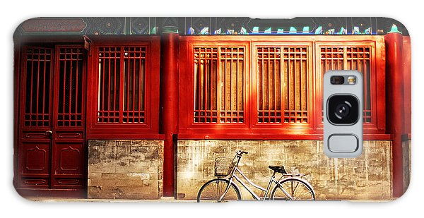 No People Galaxy Case - One Bicycle In Front Of Oriental Red by N K