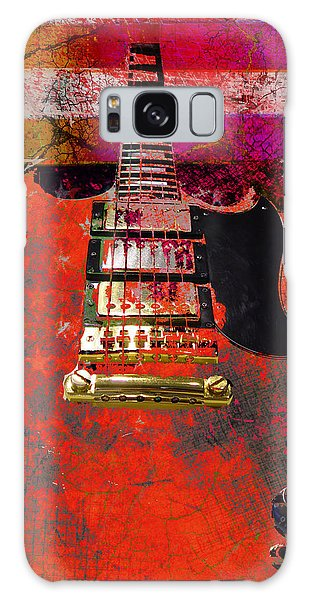Galaxy Case featuring the digital art Orange Electric Guitar And American Flag by Guitar Wacky