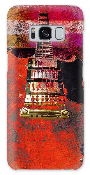 Orange Electric Guitar And American Flag Galaxy Case