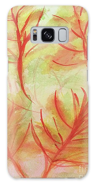 Orange Fanciful Leaves Galaxy Case