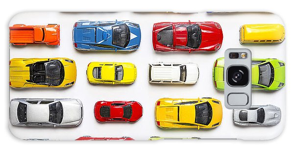 Sport Car Galaxy Case - Overhead View On Colorful Car Toys by Pirke