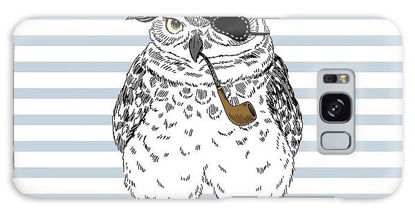Furry Galaxy S8 Case - Owl Pirate, Nautical Poster, Hand Drawn by Olga angelloz