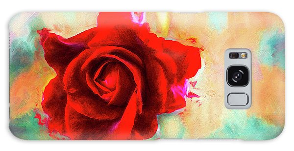 Painted Rose On Colorful Stucco Galaxy Case