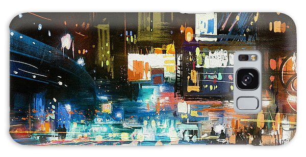 Glow Galaxy Case - Painting Of Modern Urban City At by Tithi Luadthong