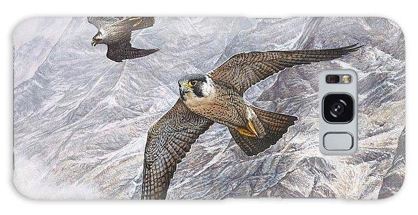Pair Of Peregrine Falcons In Flight Galaxy Case