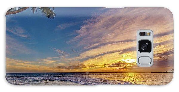 Palm Wave Sunset Galaxy Case