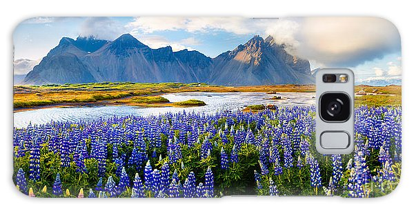 Basalt Galaxy Case - Panorama Of Blooming Lupine Flowers On by Andrew Mayovskyy