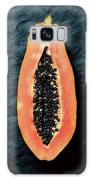 Colours Galaxy Case - Papaya Cross-section On Dark Slate by Johan Swanepoel