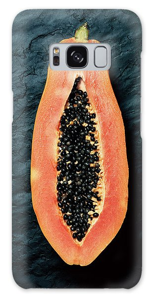 Tint Galaxy Case - Papaya Cross-section On Dark Slate by Johan Swanepoel