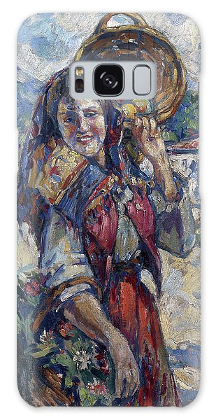 Russian Impressionism Galaxy Case - Peasant Girl With Fruit And Flowers by Konstantin Korovin