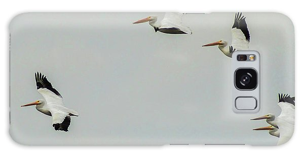 Pelicans In Flight Galaxy Case