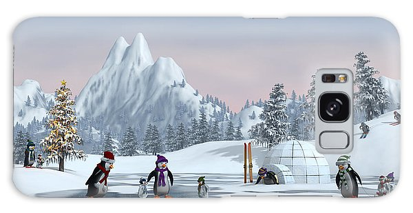 Horizontal Galaxy Case - Penguins On A Frozen Lake In A Snowy by Sara Winter