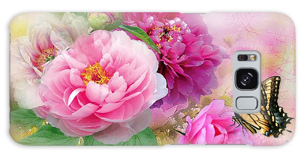 Peonies And Butterfly Galaxy Case