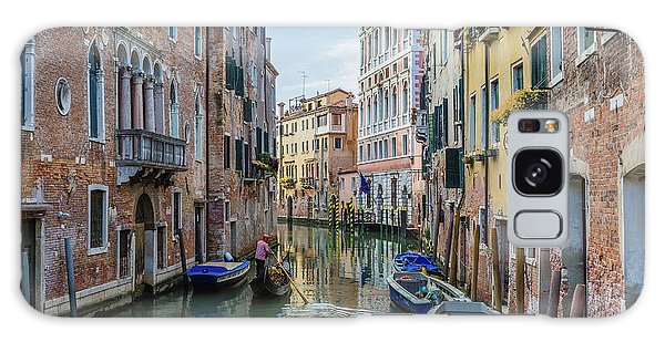 Gondolier On Canal Venice Italy Galaxy Case
